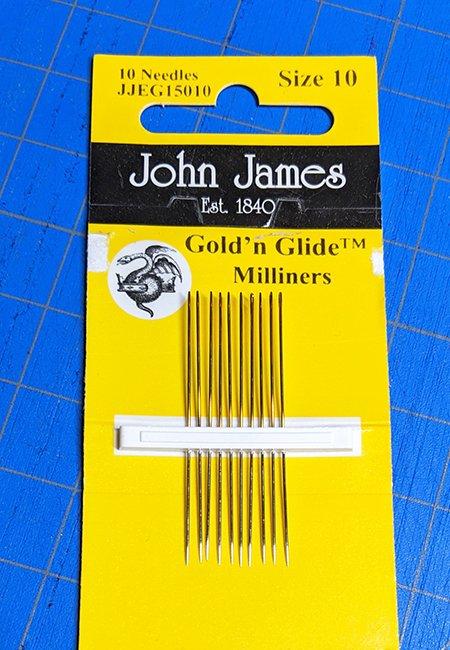 John James Gold-N-Glide Milliner Needles - Size 10, 10 count