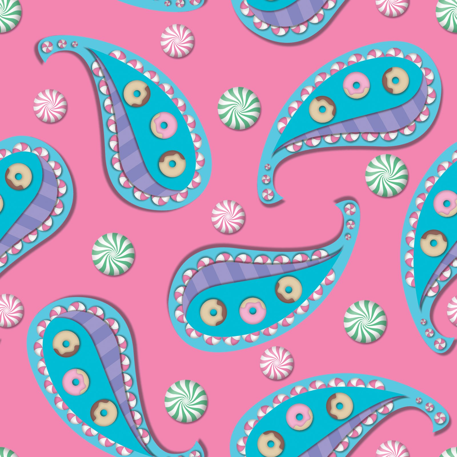 Donut & Candy Paisley - Fabric
