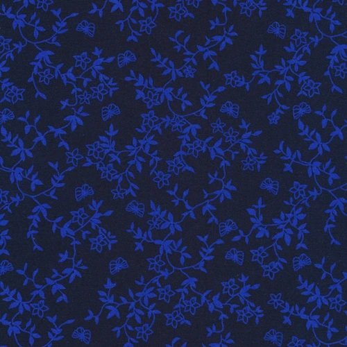 Blue on Navy Butterflies and Flowers