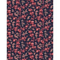 Bricolage Navy with Red Flowers