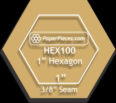 1'' Hexagon Acrylic Template 3/8 seam allow