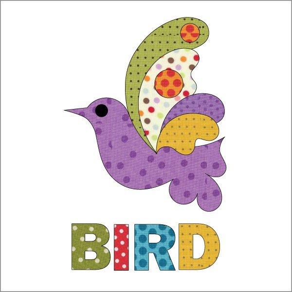 Laser Cut Fusible Applique Bird Purple Dotz w/Letters
