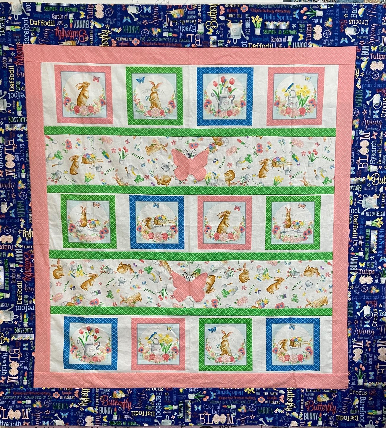 Bunnies and Blossoms Quilt Kit 49.5x 50.5