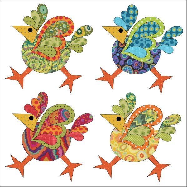 Laser Cut Fusible Applique Funky Chicken Set-4 Large Chickens