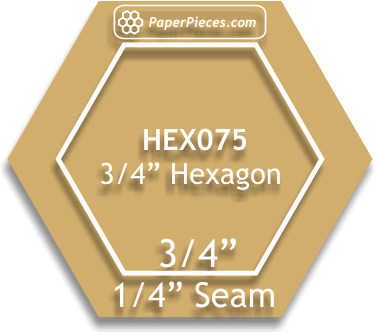 3/4'' Hexagon Acrylic Template 1/4 seam allow