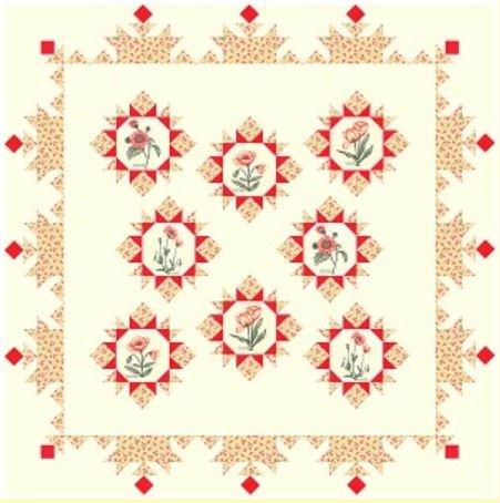 Le Pavot Quilt Kit PEACH (74 x 74)
