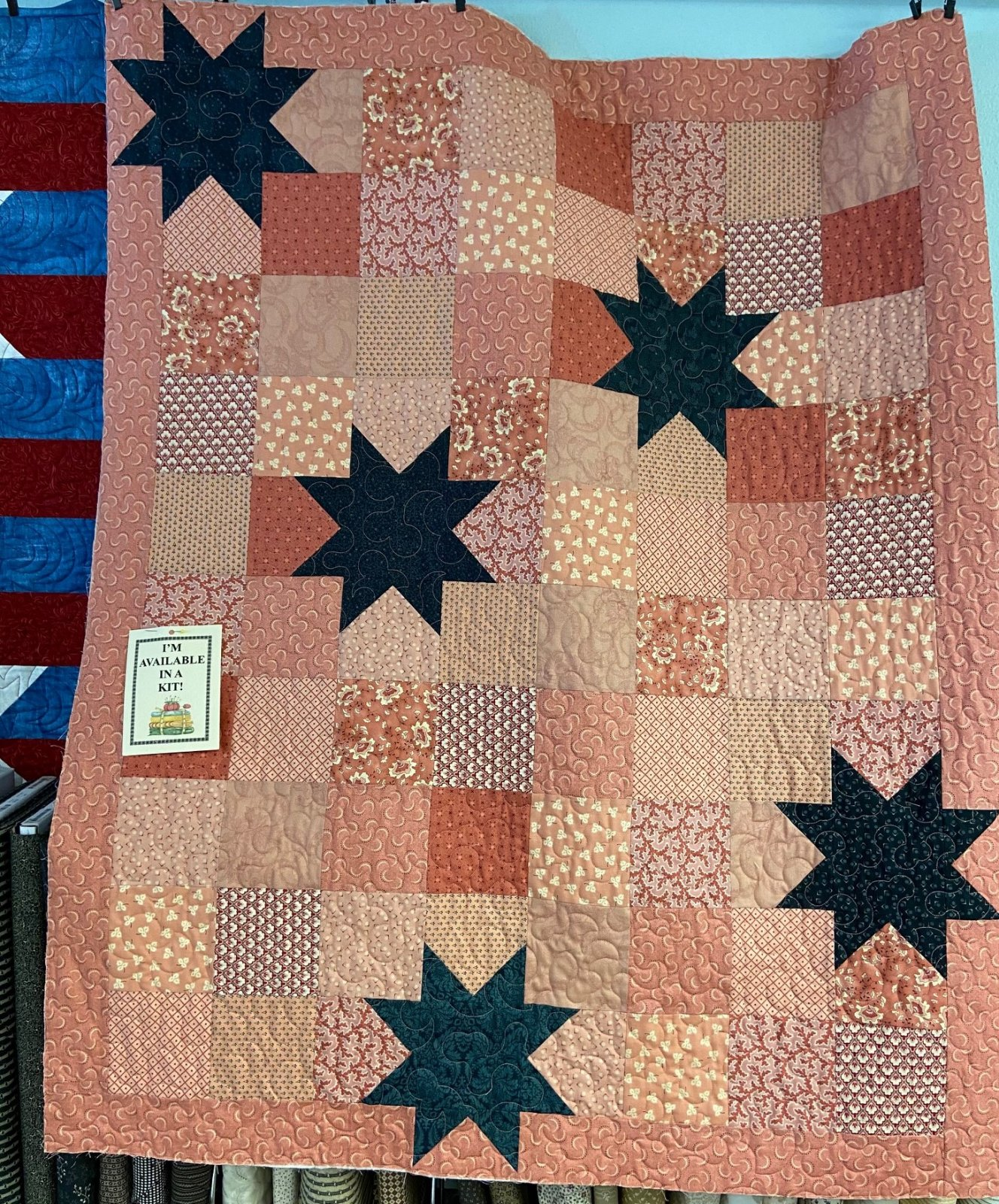 Blush and Blue Oh My Stars Quilt KIT 41.5 x 50.5