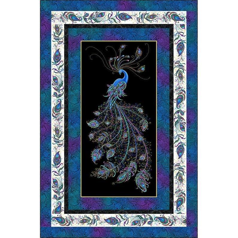 Peacock Flourish Quilt Kit 36 x 55