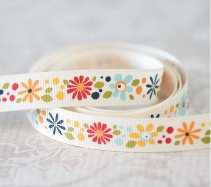 Ribbon Crazy Daisies Blue by Adornit 1/2