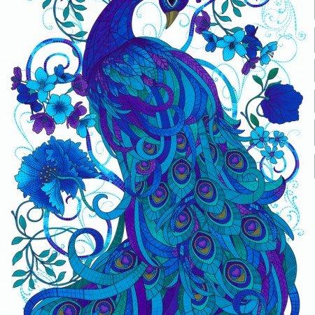 Chong-A Hwang for Timeless Treasures Plume Mosaic Peacock 24 Panel, C4663