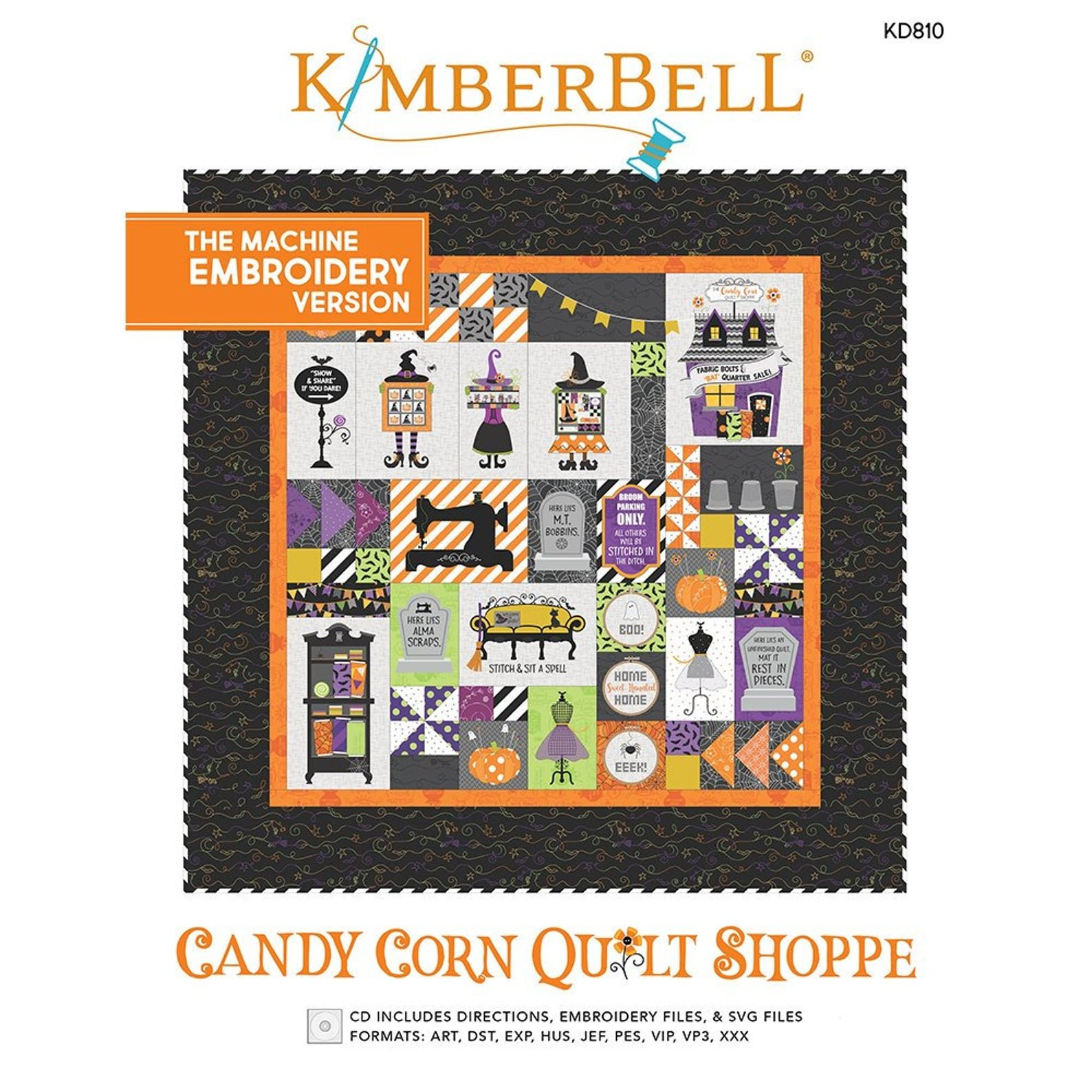 Kimberbell Candy Corn Quilt Shoppe Machine Embroidery Book & CD