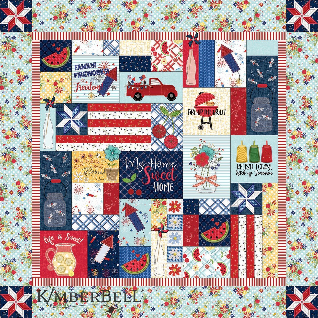 Kimberbell Red White & Bloom Fabric Kit for Quilt