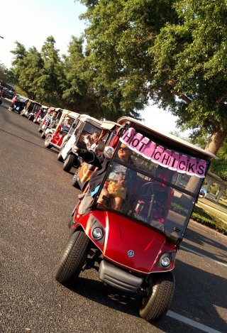 Golf Cart Parad Leaves for the Tour