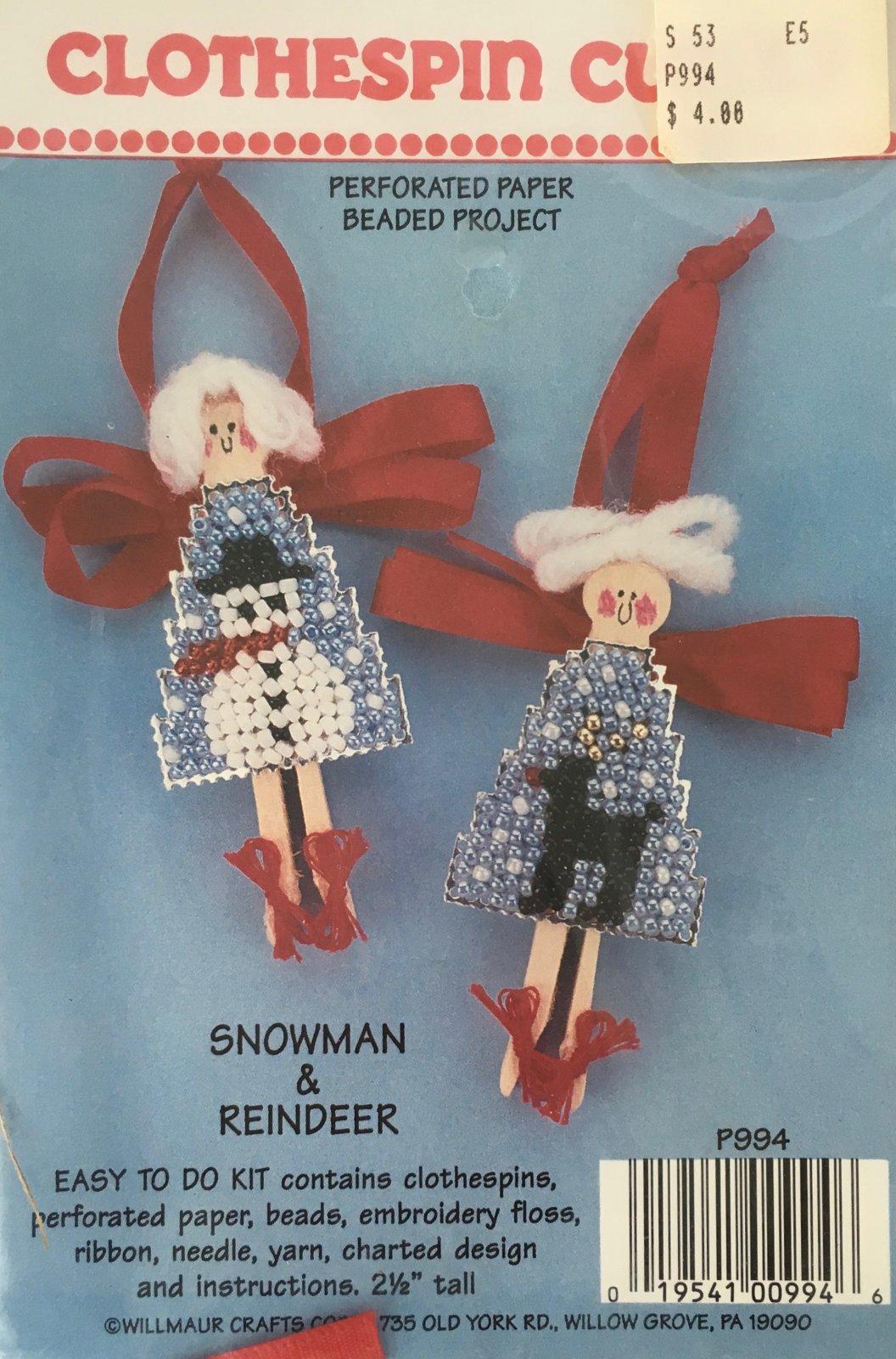 Astor Place: Clothespin Cuties Snowman & Reindeer Kit P994