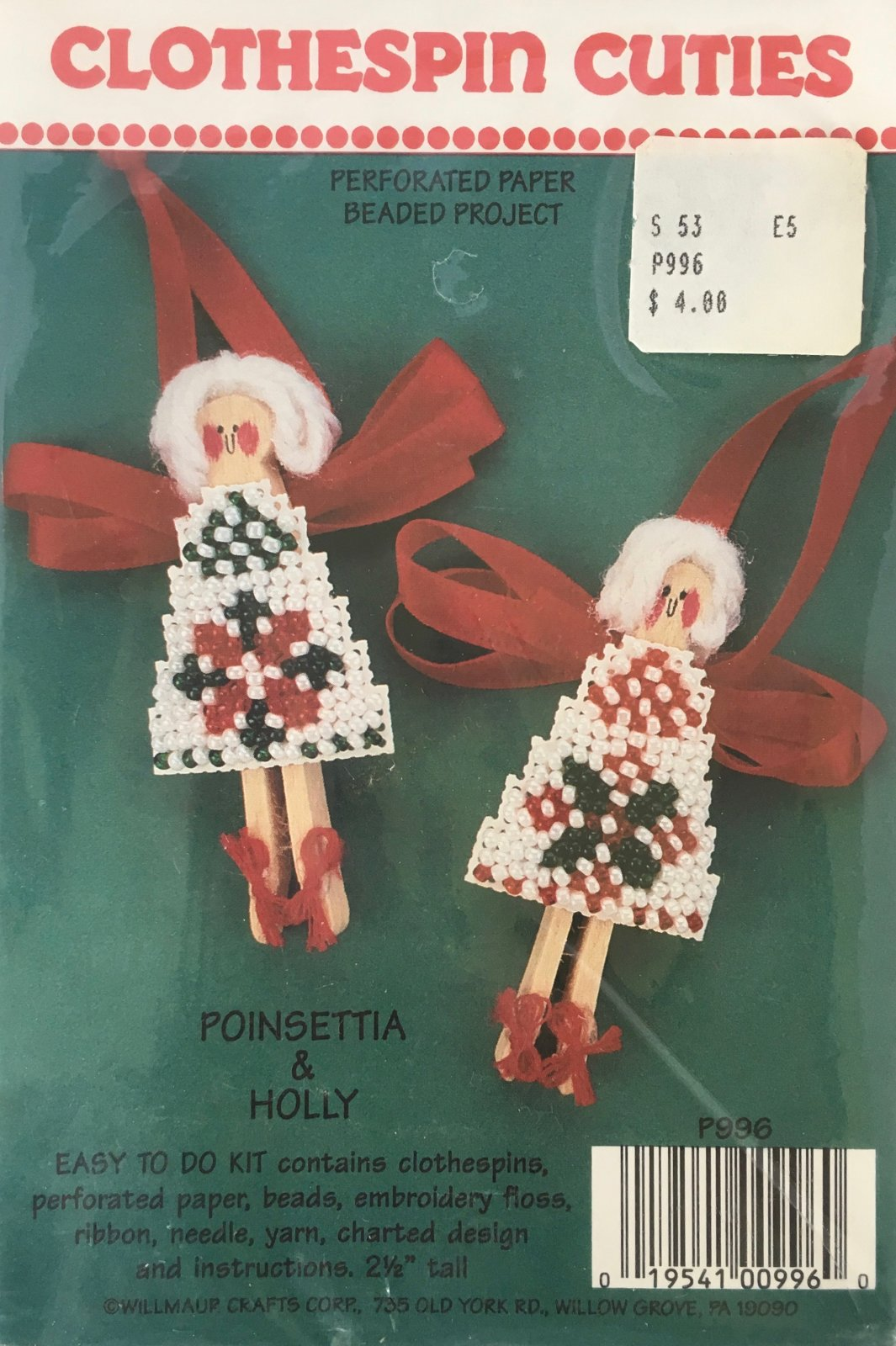 Astor Place: Clothespin Cuties Poinsettia & Holly Kit P996