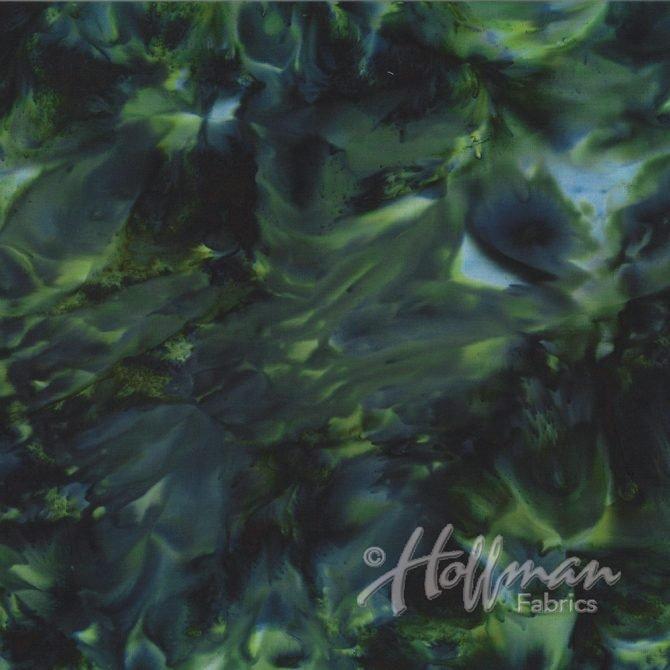 Hoffman Batik - 1384 216 Bali Mottles Black Jade