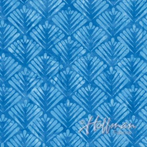 Hoffman Batik - P2966 261 Art Deco Fan Bluejay