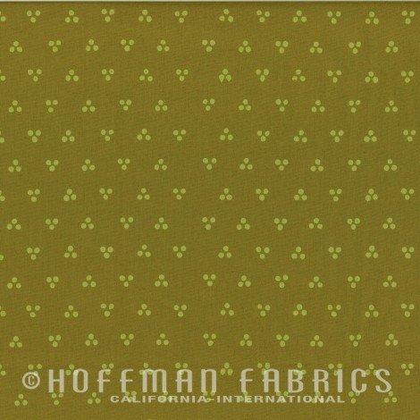 Hoffman Batik - Me & You Hand Dyed Batik 108 96 Dotty Chevron Olive