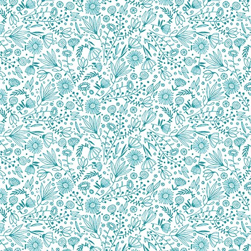 Contempo It's Raining Cats and Dogs Whisp Flowers Teal