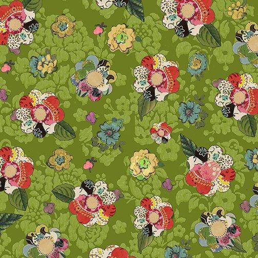 Benartex Soul Shine & Daydreams Collage Flowers Dark Lime