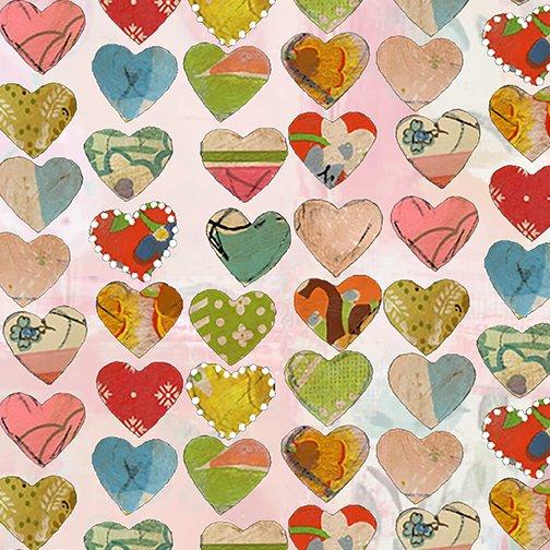 Benartex Soul Shine & Daydreams Large Hearts Coral/Multi