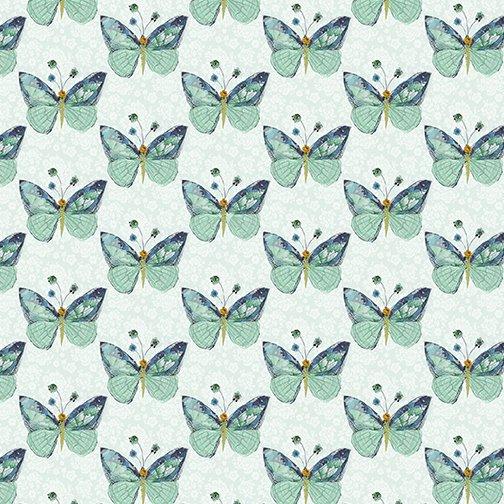 Benartex Soul Shine & Daydreams Butterflies Light Teal
