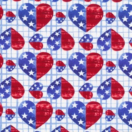 Blank Quilting One Land, One Flag Patriotic Hearts