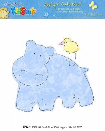 Kid Stuff 8x8 Finished Appliqued Block Hippo
