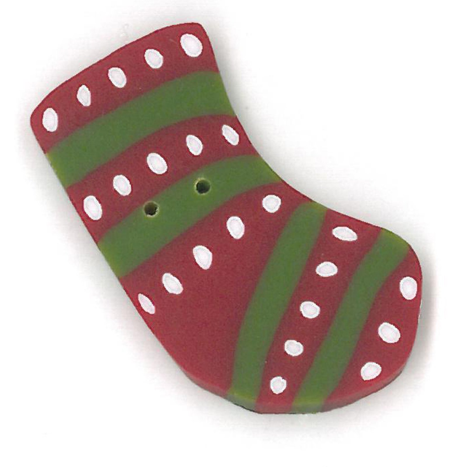 Button - JAB Stocking Red & Green Stripe Small