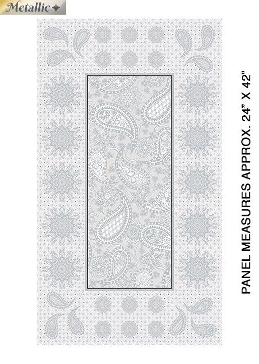 Panel Benartex Jubilee Silver Embroidery