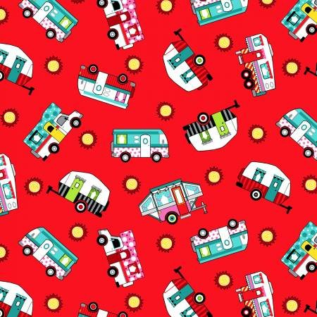 Studio E Roamin Holiday Tossed Campers Red