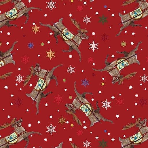 Benartex Quilter's Christmas Reindeer Red
