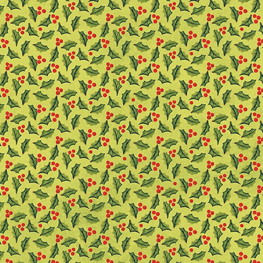 Benartex Quilter's Christmas Jolly Holly Lime