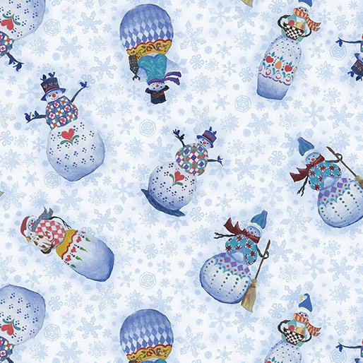Benartex Quilter's Christmas Village Snowman Lt. BLue