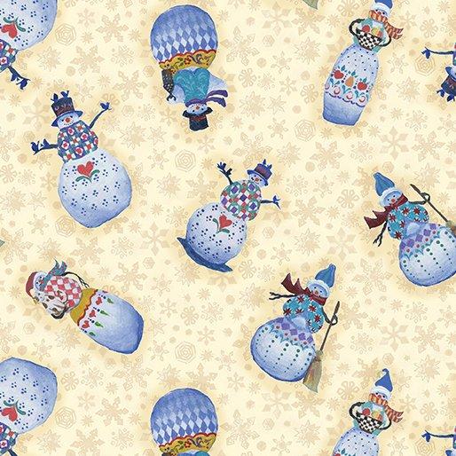 Benartex Quilter's Christmas Village Snowman Cream