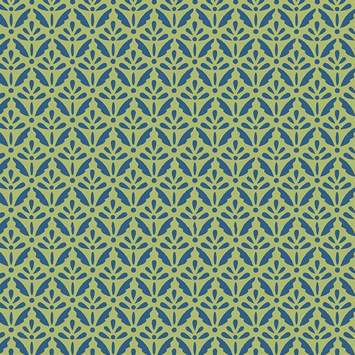 Benartex Home Grown Floret  Blue/Green
