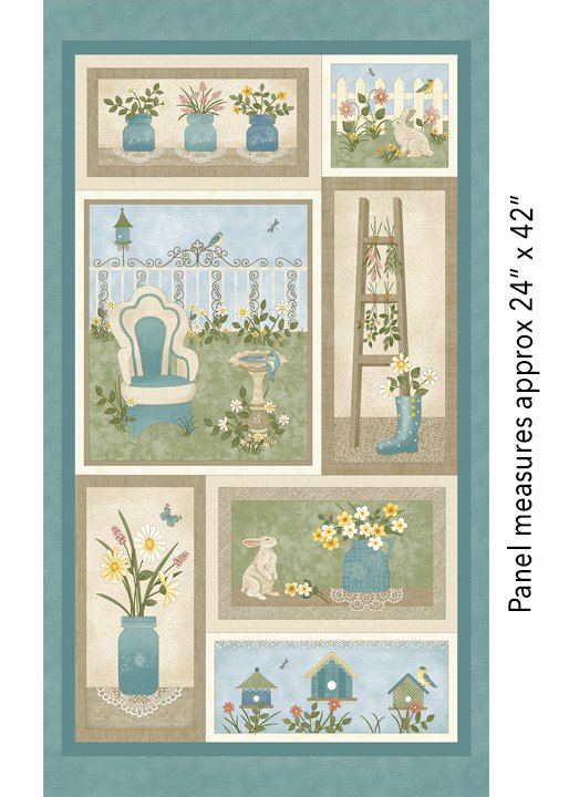 Benartex My Secret Garden Panel Blue Multi