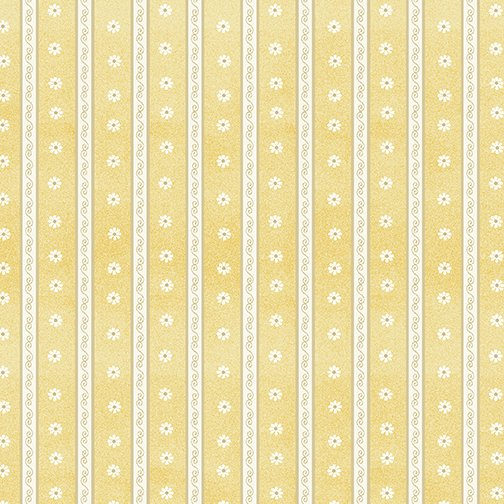 Benartex My Secret Garden Daisy Scroll Stripe Yellow