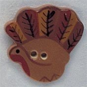 Mill Hill Ceramic Hand Painted Button Turkey