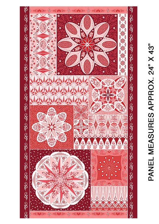 Panel - Benartex Celestial Lights Ruler Red