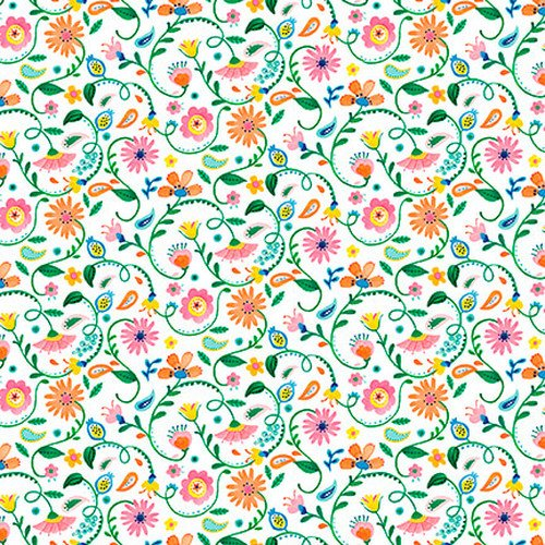 Blank Quilting Florabelle White Mini Floral
