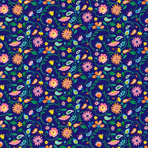 Blank Quilting Florabelle Navy Mini Floral