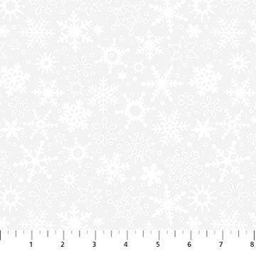 Northcott Basically Black & White Snowflakes White