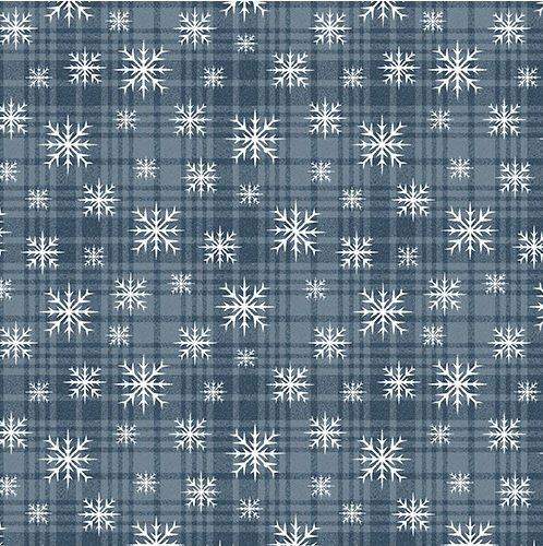 Benartex A Very Wooly Winter Wooly Snowflake Plaid Denim