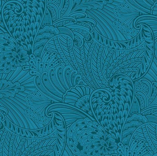 Benartex Peacock Flourish Opulence Tonal Dark Teal