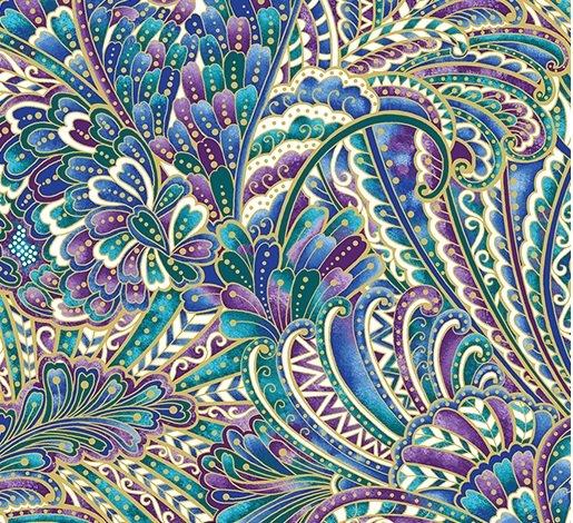 Benartex Peacock Flourish Opulence White Multi