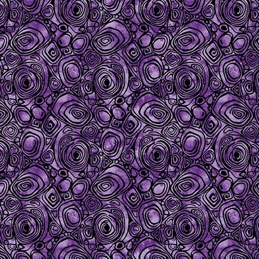 Benartex Peacock Flourish Rounded Squares Medium Purple
