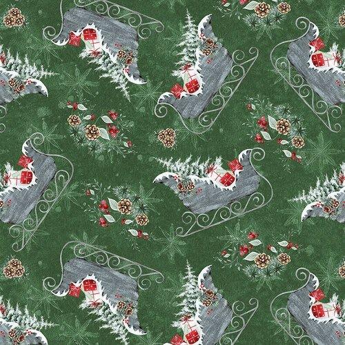 Blank Quilting Joyful Tiding Christmas Sleighs Green