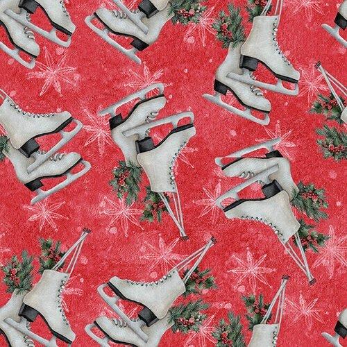 Blank Quilting Joyful Tiding Ice Skates Red