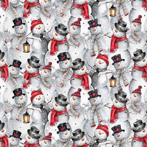 Blank Quilting Joyful Tiding Snowman Collage Gray